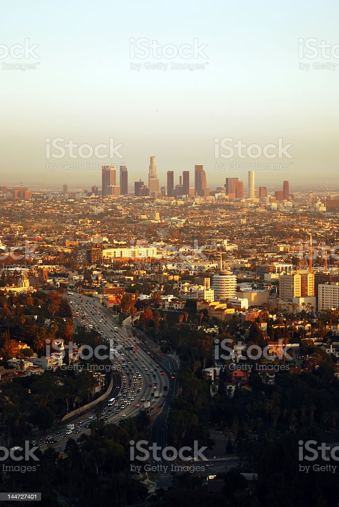 Panorama view of Los Angeles at sunset and pale blue sky stock photo
