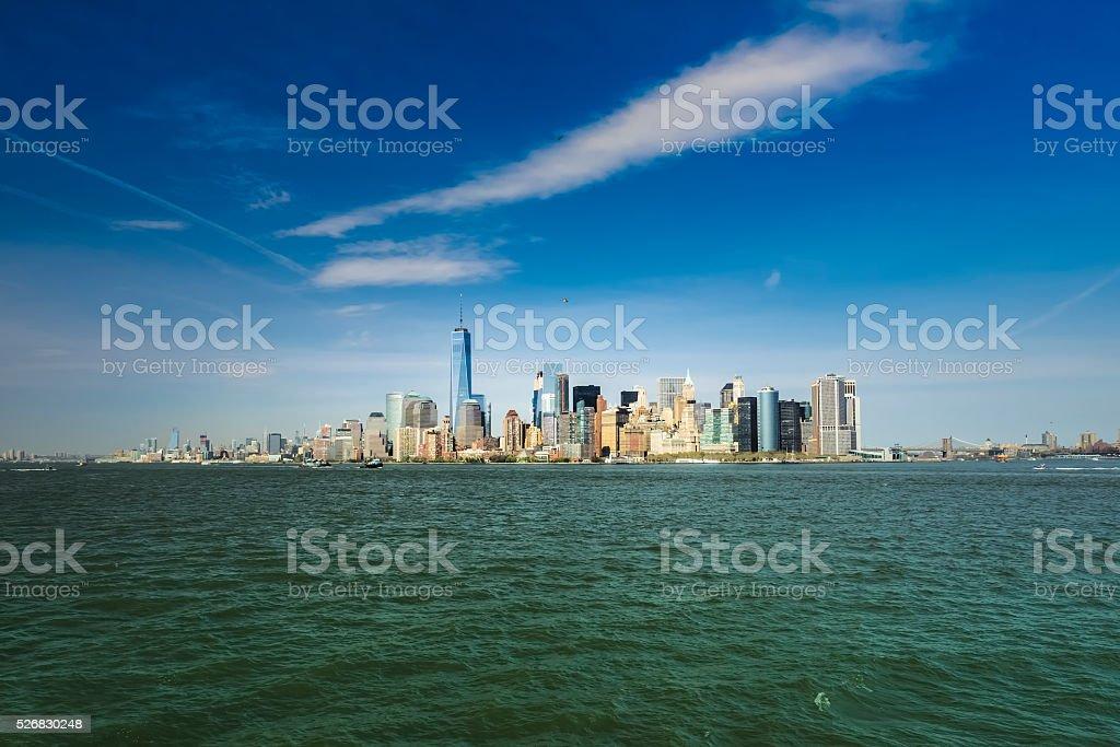 Panorama View of lower Manhattan cityscape, New York City, USA stock photo