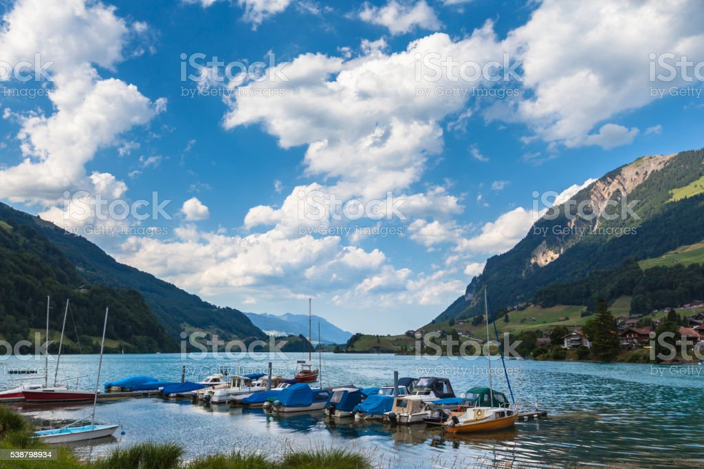 Panorama view of Lungern lake in Swiss Alps stock photo