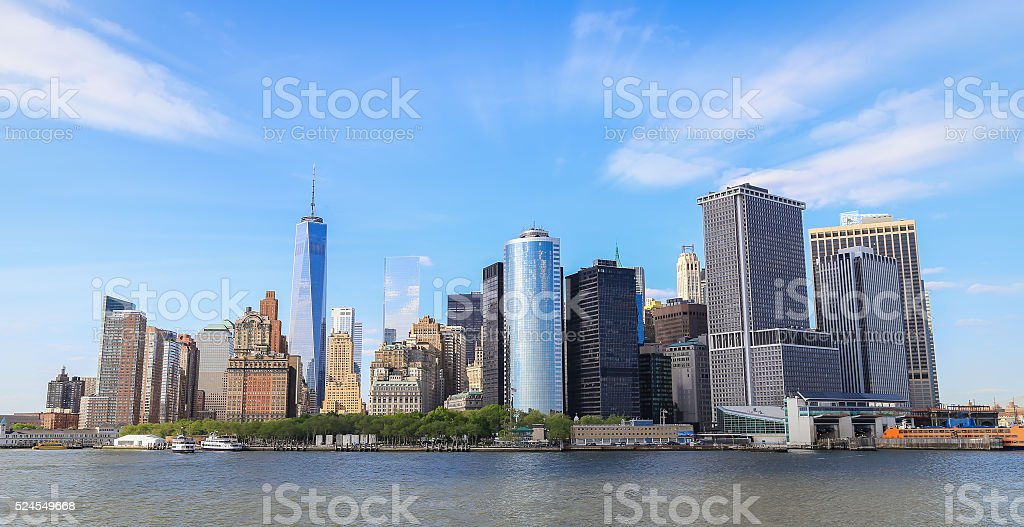 Panorama view of Manhattan stock photo