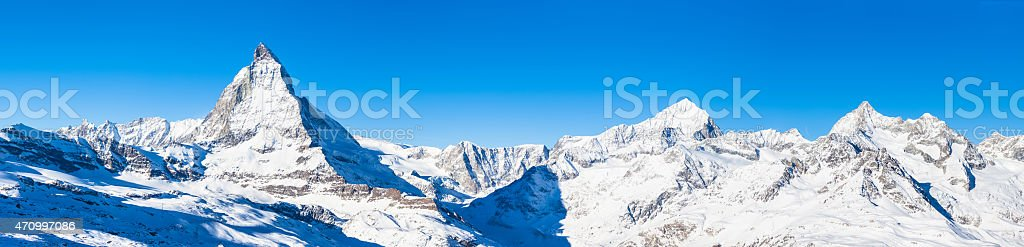 Panorama view of Matterhorn and Weisshorn stock photo