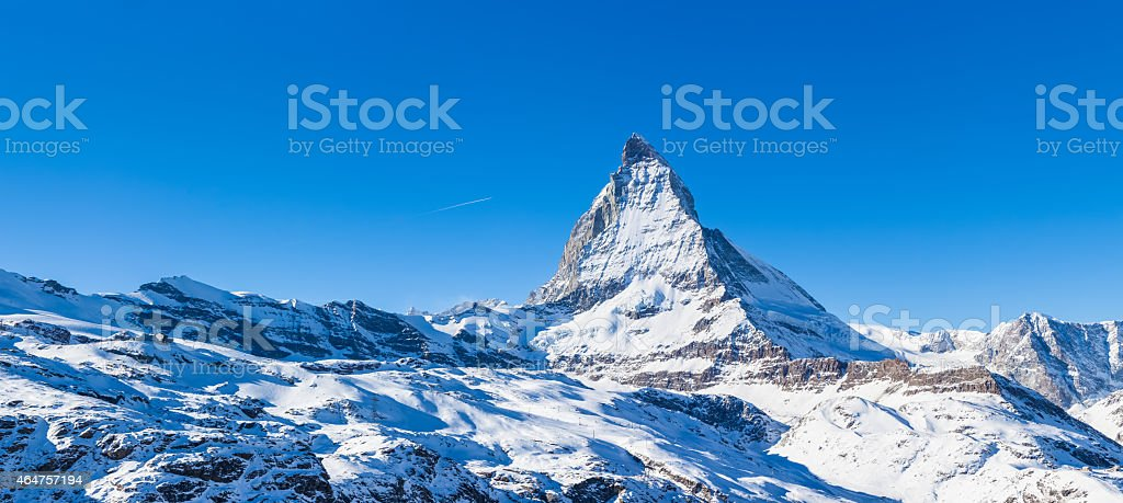 Panorama view of Matterhorn on a clear sunny day stock photo