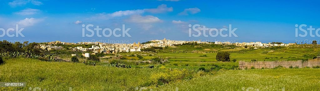 Panorama view of Mgarr city with green field. Gozo, Malta stock photo