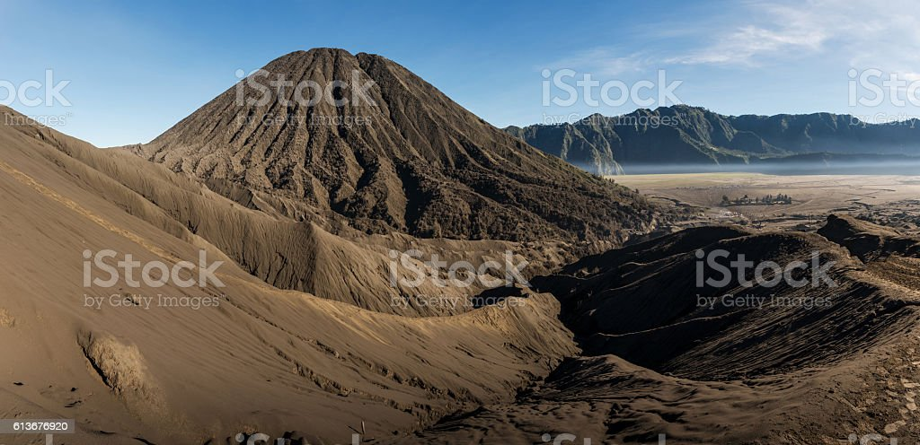Panorama view of Mount. Bromo in the morning stock photo