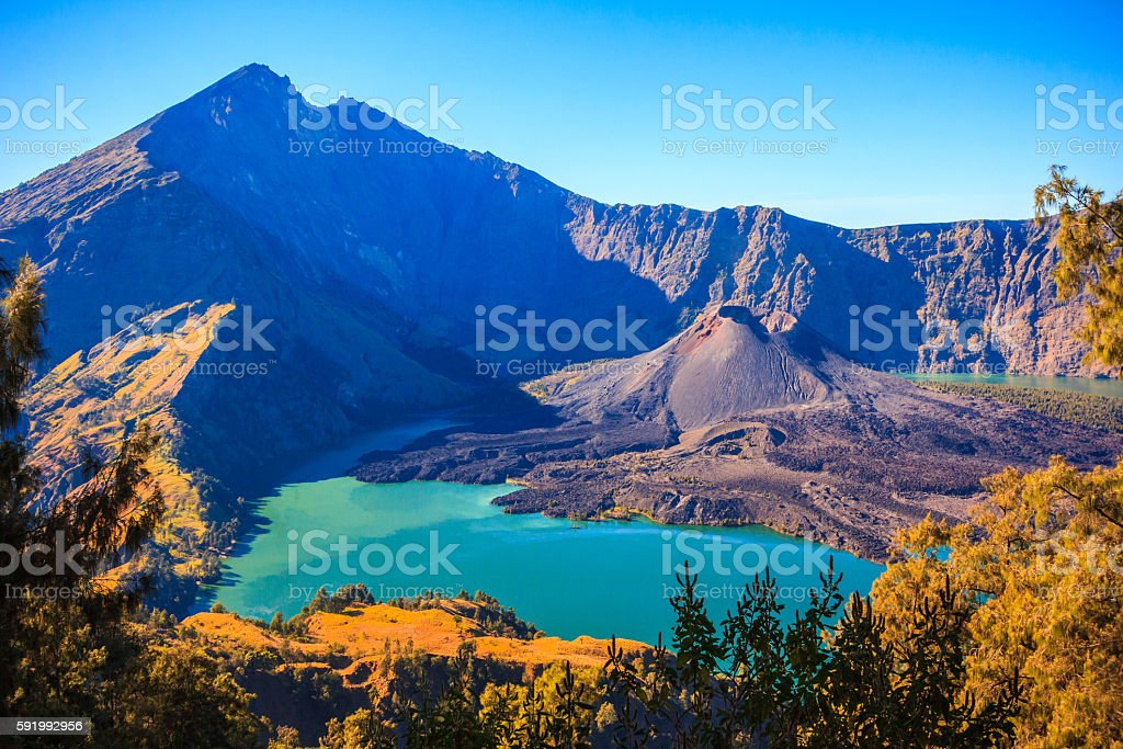 Panorama view of Mountain Rinjani of Indonesia stock photo