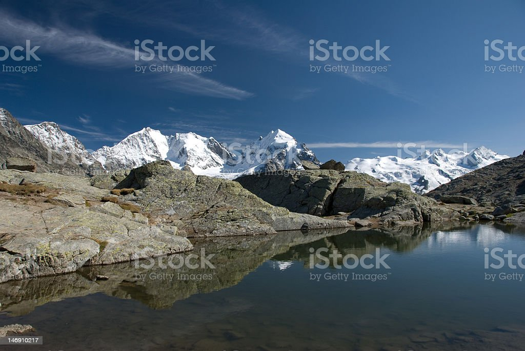 panorama view of mountains from fuorcla surlej, engadin royalty-free stock photo