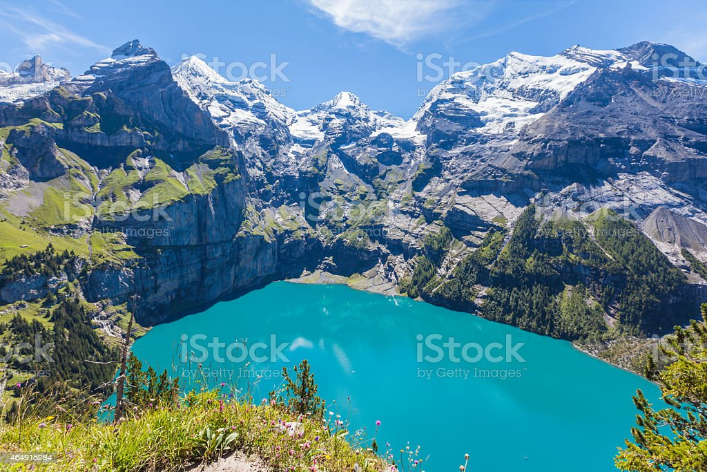 Panorama view of Oeschinensee (Oeschinen lake) on bernese oberla stock photo