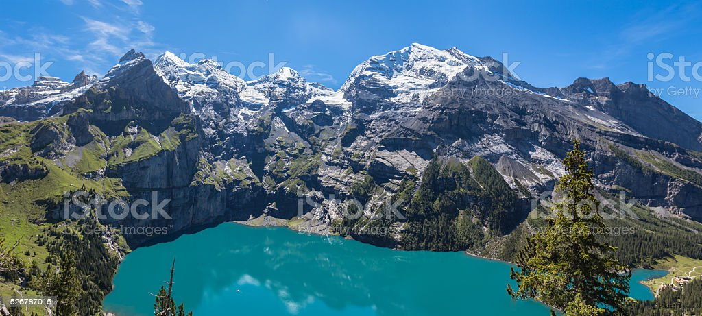 Panorama view of Oeschinensee (Oeschinen lake) on bernese oberland stock photo