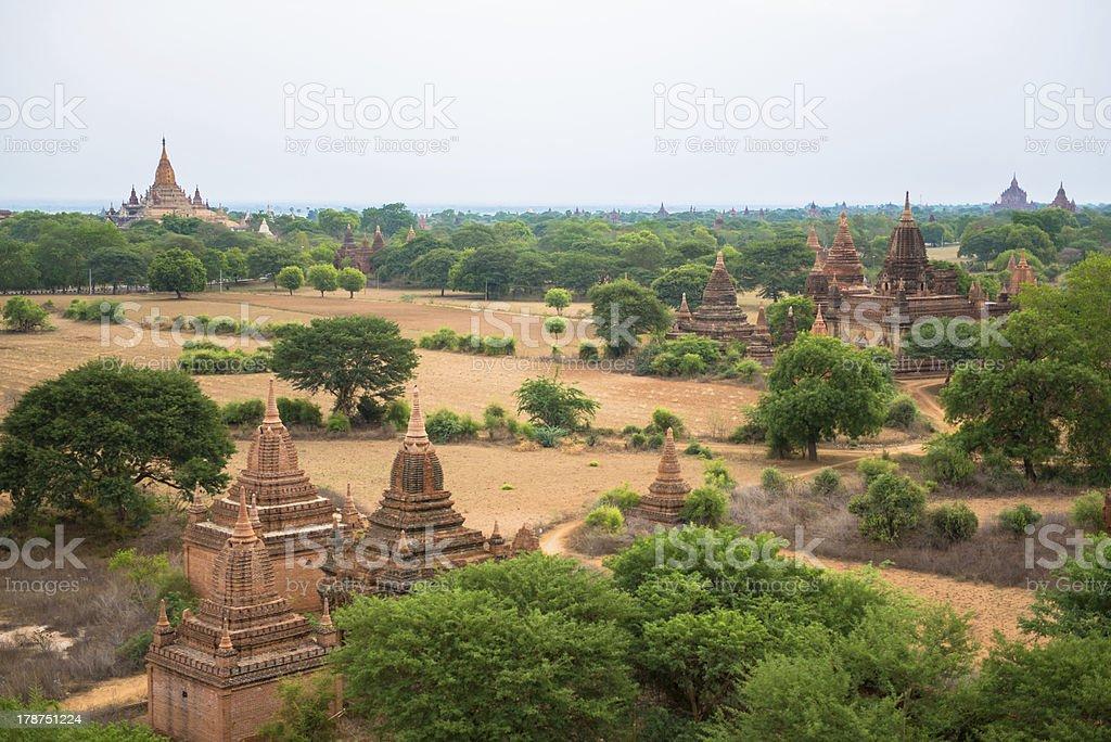 Panorama view of old Bagan, Myanmar royalty-free stock photo