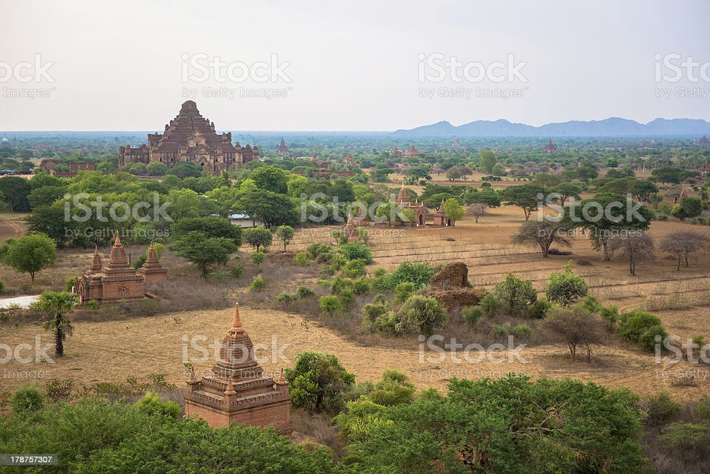Panorama view of old Bagan, Myanmar royalty-free stock photo