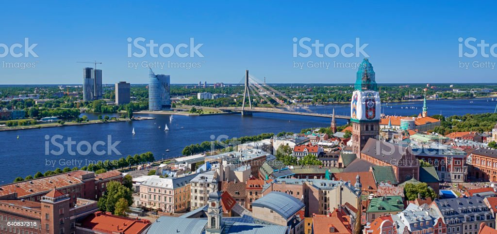 Panorama view of Old riga stock photo