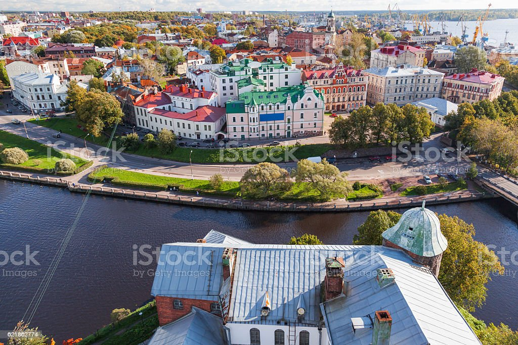 Panorama view of old town from the Vyborg castle. stock photo