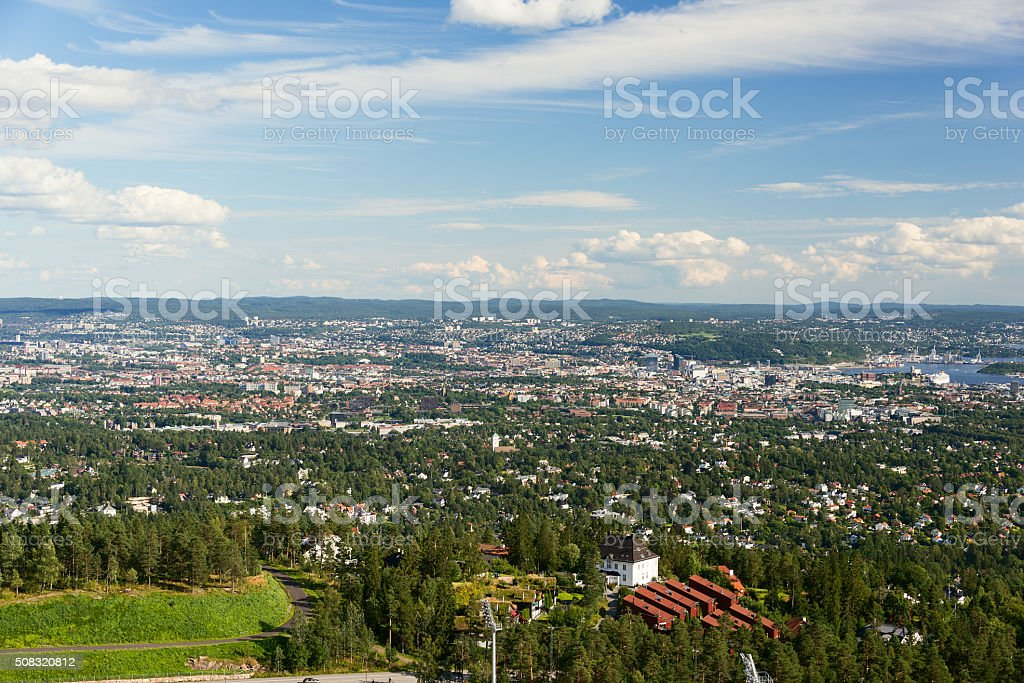 Panorama view of Oslo from Holmenkollen stock photo