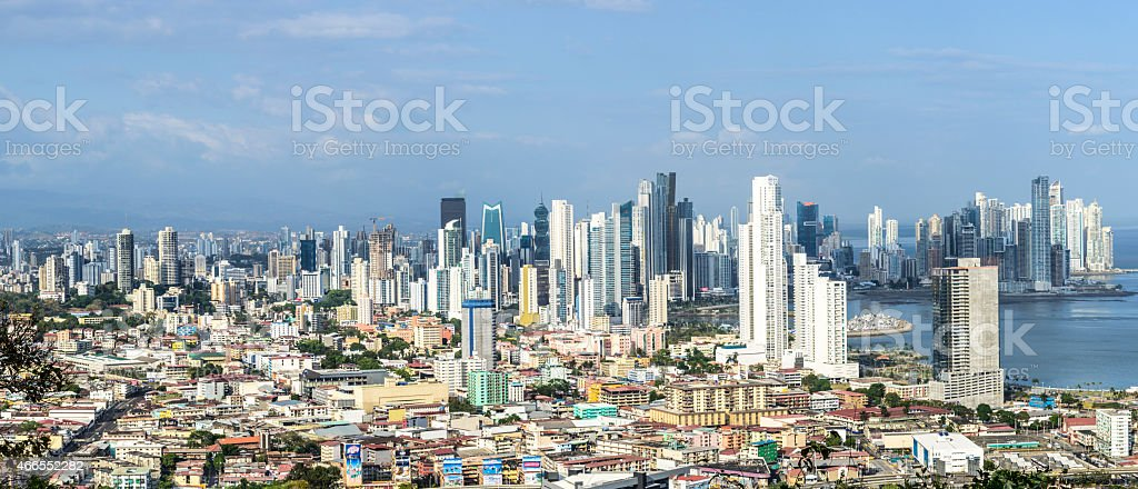 Panorama view of Panama City skyline showing the old and new stock photo