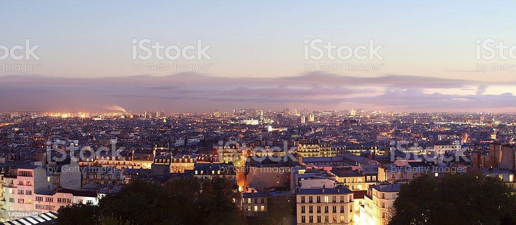 Panorama View of Paris by night royalty-free stock photo