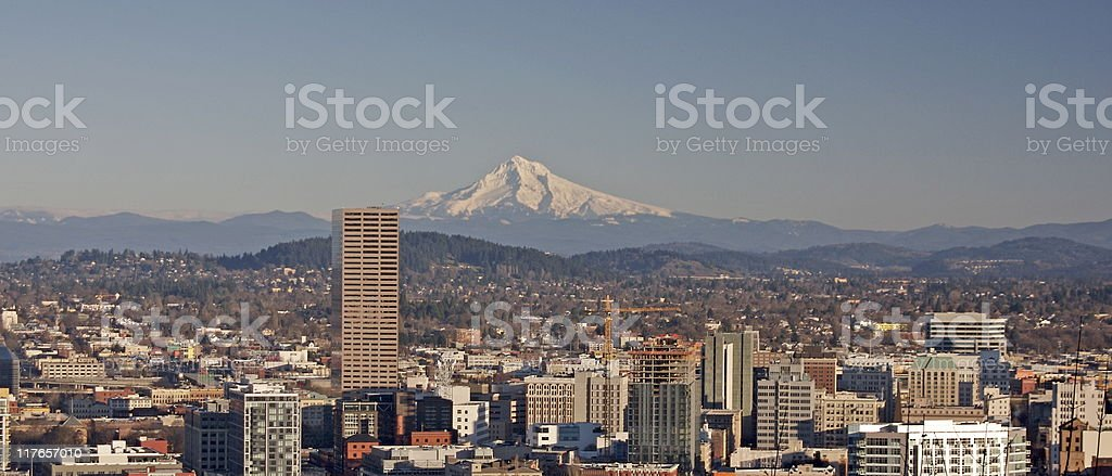Panorama view of Portland, Oregon stock photo
