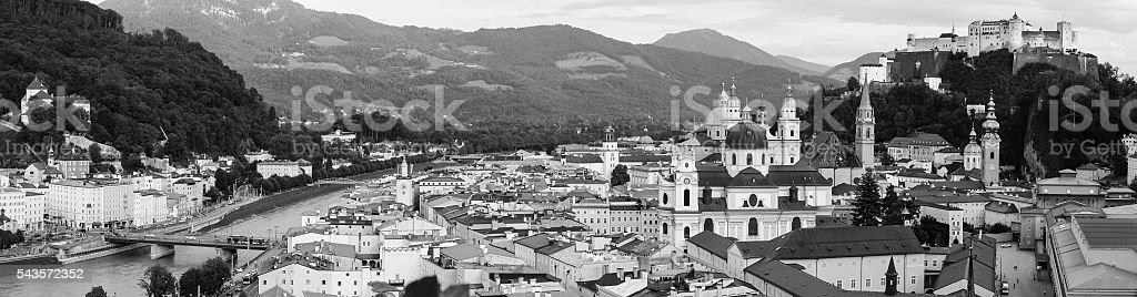 Panorama view of Salzburg, Austria in black and white stock photo