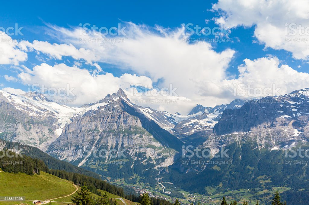 Panorama view of Schreckhorn in Swiss Alps stock photo