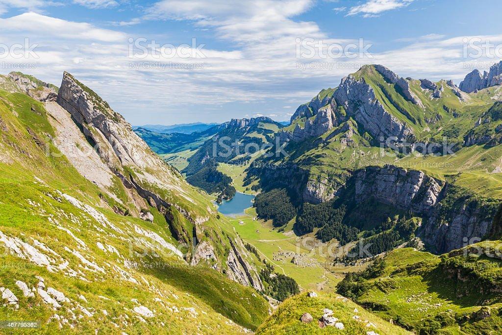 Panorama view of Seealpsee (lake) and Alpstein massif stock photo