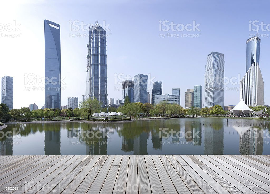 Panorama view of Shanghai business area stock photo