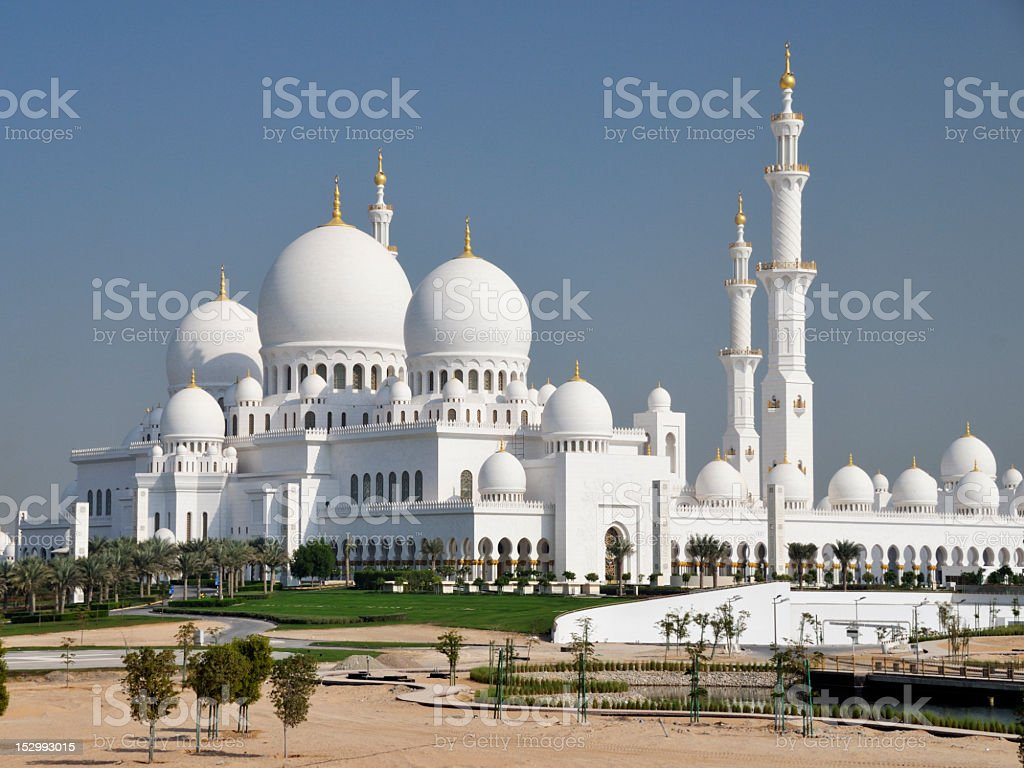 Panorama view of Sheikh Zayed Mosque in Abu Dhabi royalty-free stock photo