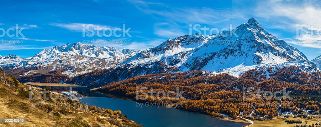 Panorama view of Sils lake and Engadin Alps in autumn stock photo