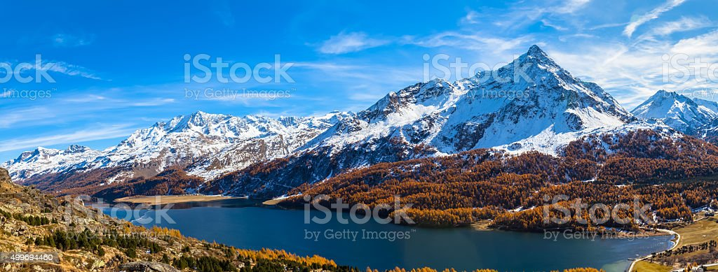 Panorama view of Sils lake and the Engadin Alps stock photo
