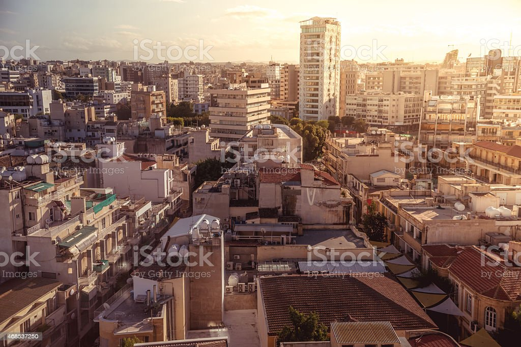 Panorama view of southern part of Nicosia, Cyprus stock photo