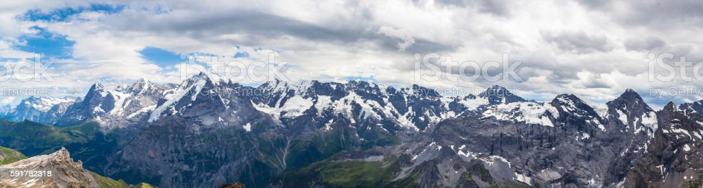 Panorama view of Swiss Alps on Bernese Oberland stock photo