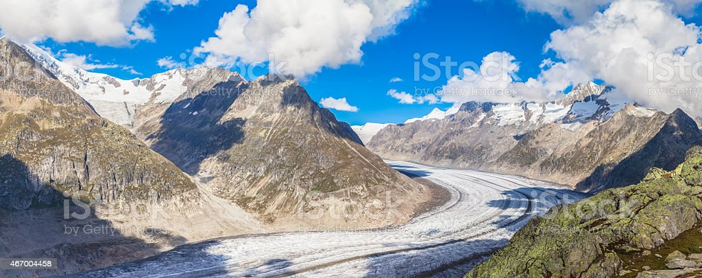 Panorama view of the Aletsch glacier on Mountains stock photo