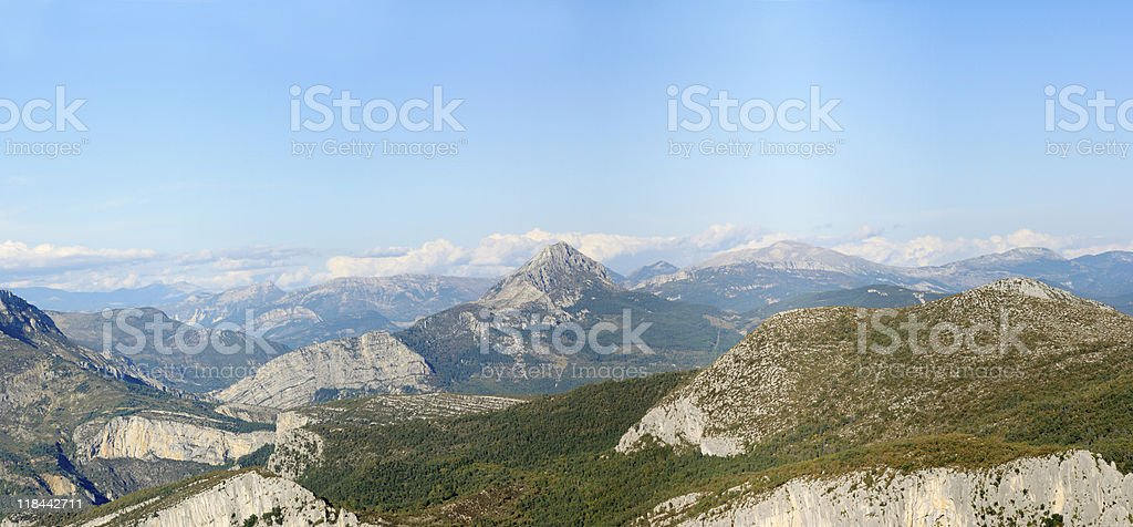 Panorama view of the Alpes in Provence stock photo