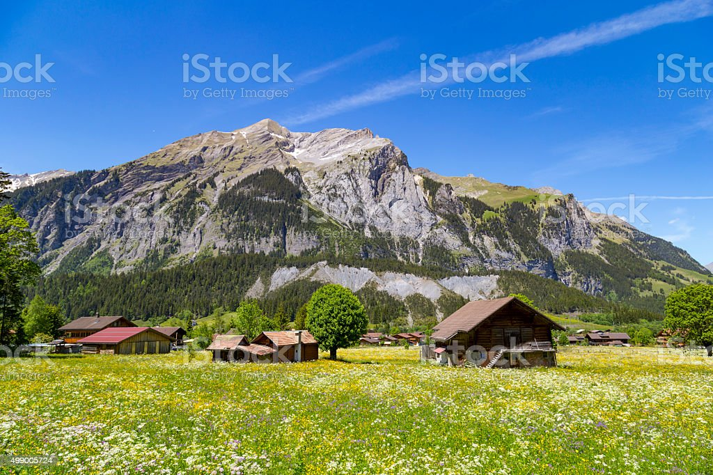 Panorama view of the Alps and Bluemlisalp near Kandersteg, Switzerland stock photo