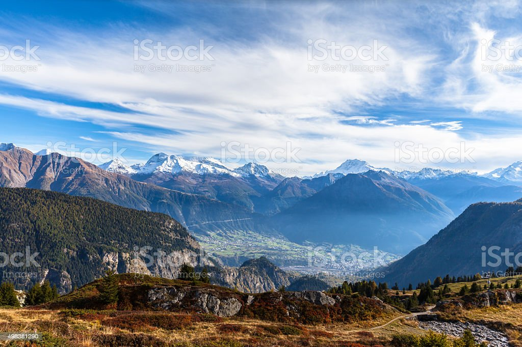 Panorama view of the Alps from Belalp stock photo