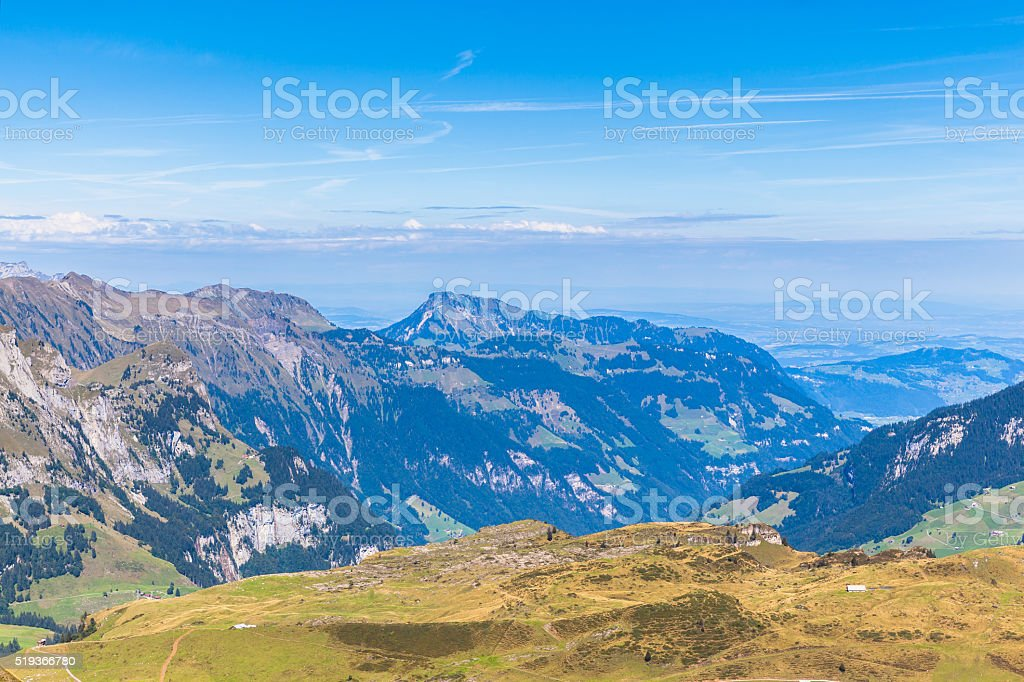 Panorama view of the Alps in Central Switzerland stock photo