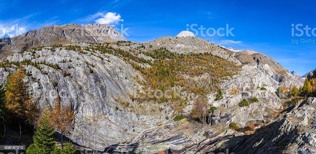 Panorama view of the Alps near Aletschglacier stock photo