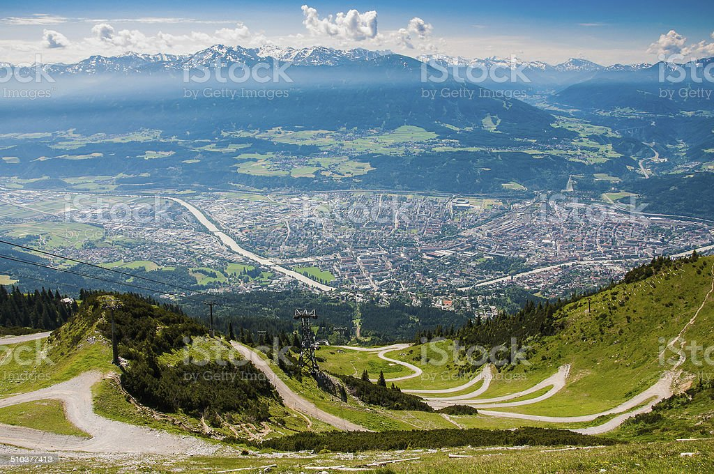 Panorama view of the city of Innsbruck and the alpine stock photo