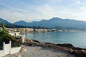 Panorama view of the coast of the Ligurian Sea. Menton