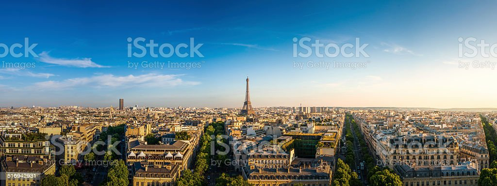 Panorama view of The Eiffel Tower ,Paris, France. stock photo