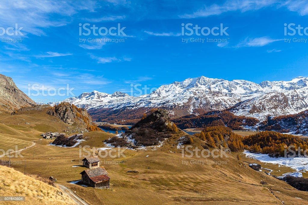 Panorama view of the Engadin Alps in golden autumn stock photo