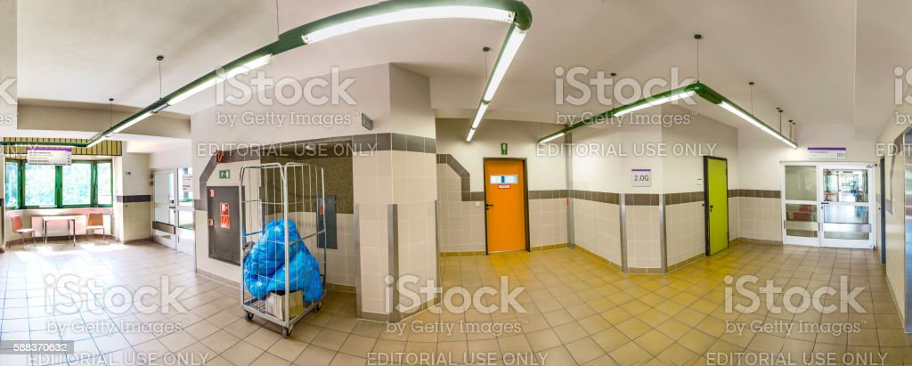 panorama view of the isles inside the Hospital in Frankfurt stock photo