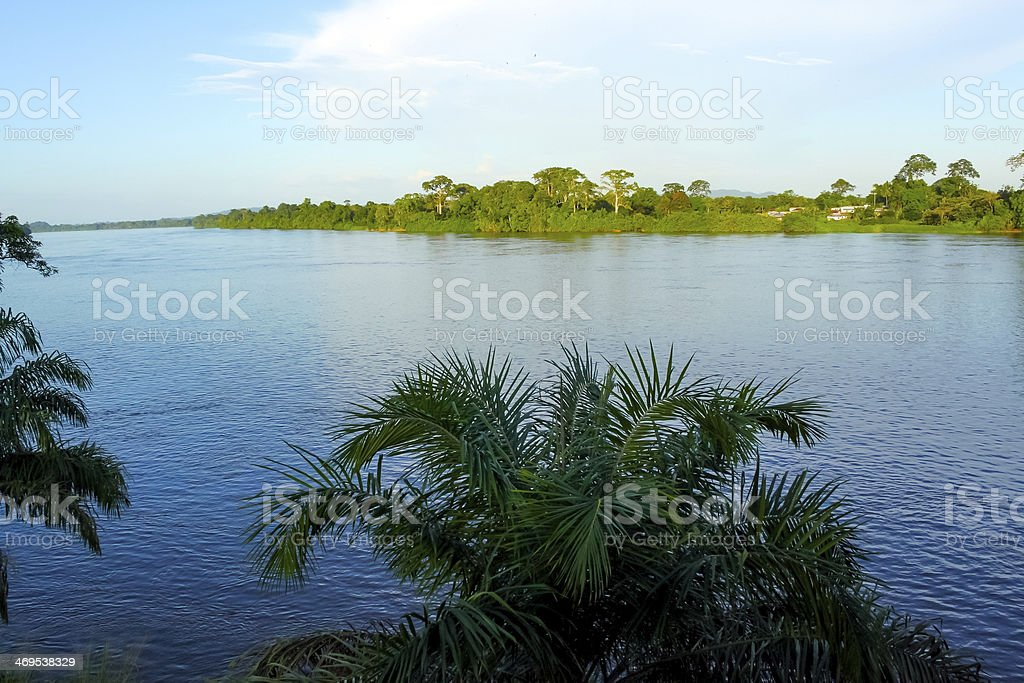 Panorama view of the Ogowe river and its banks stock photo