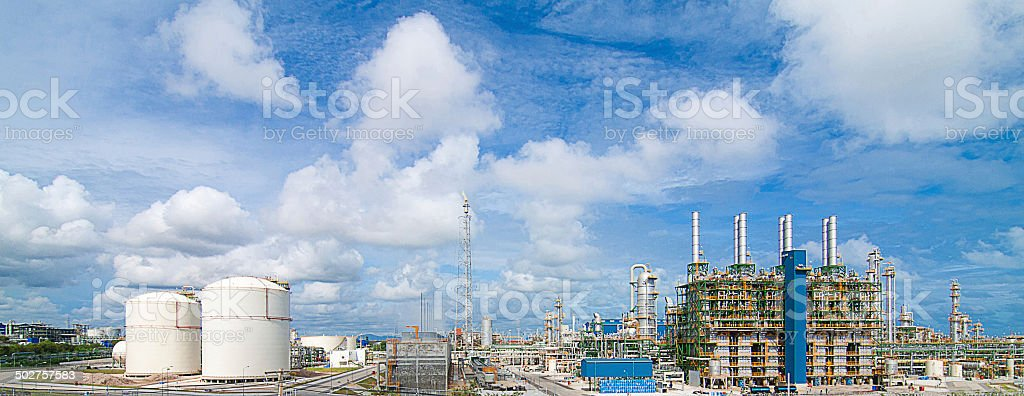 Panorama view of the Polyethylene plants stock photo