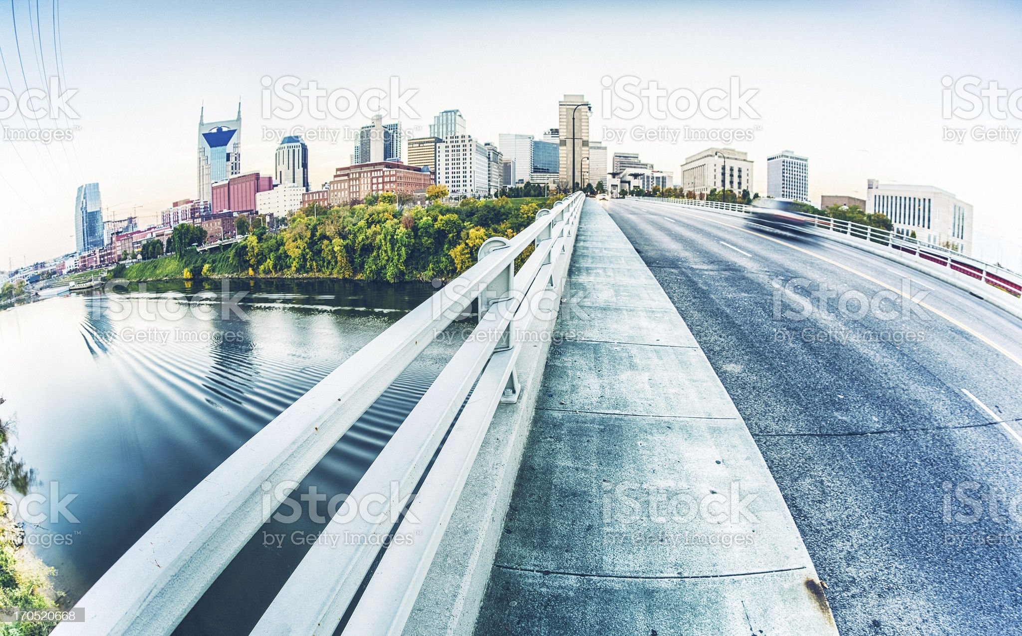 Panorama view of the road to Nashville in Tennessee royalty-free stock photo