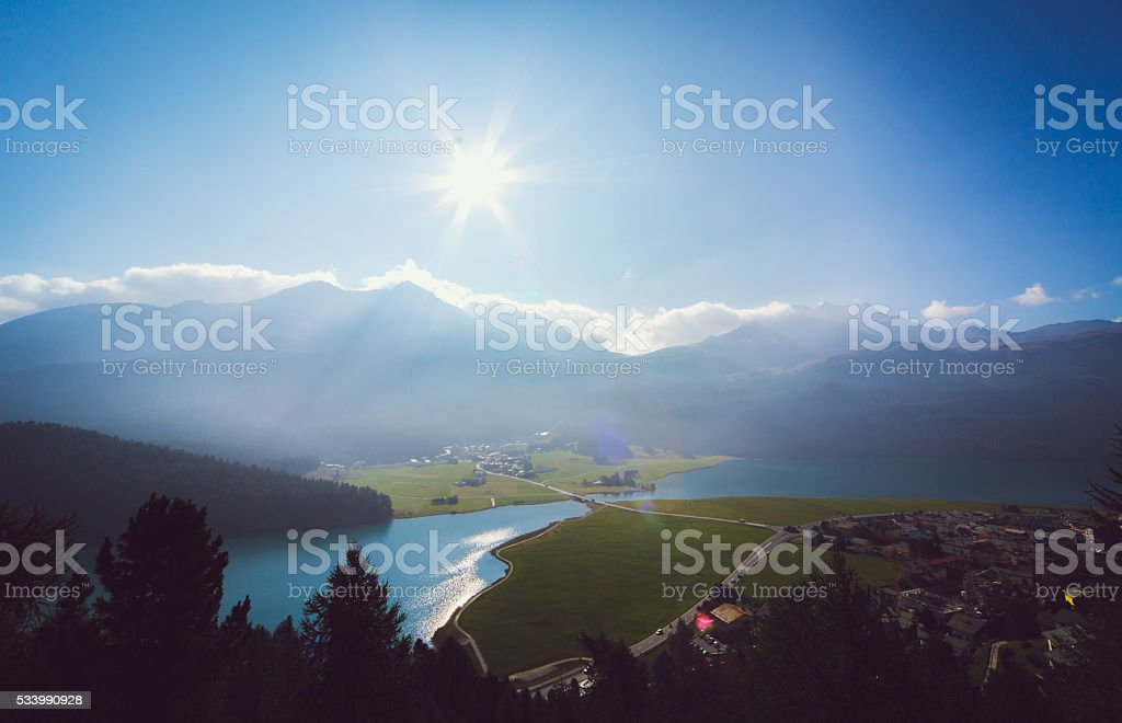 Panorama view of the swiss alps in Upper Engadine stock photo