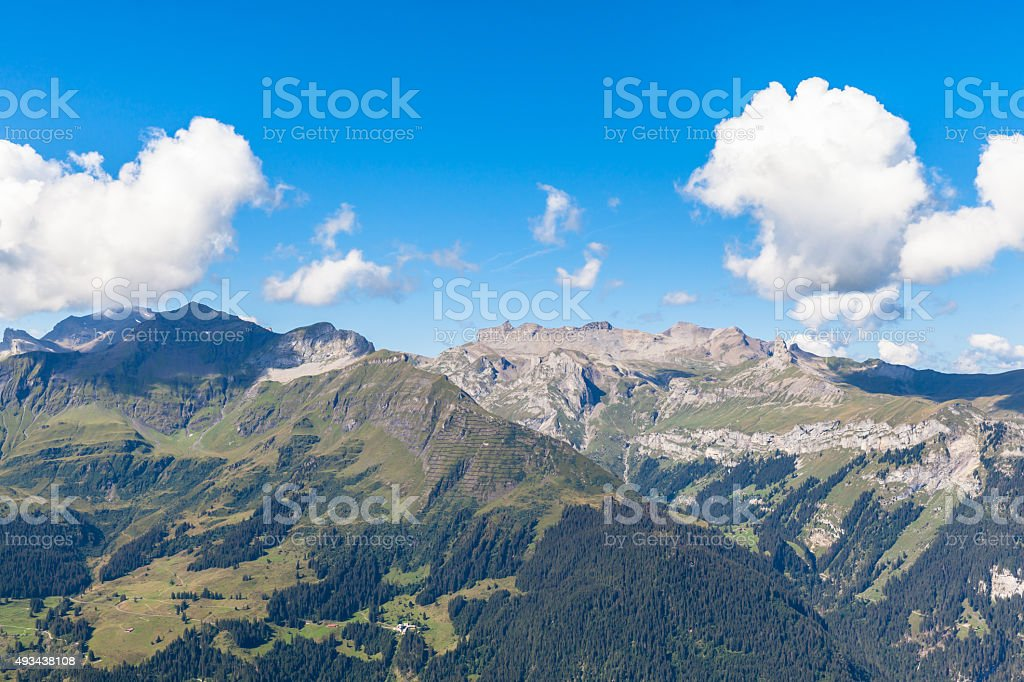 Panorama view of the swiss alps rom Mannlichen stock photo