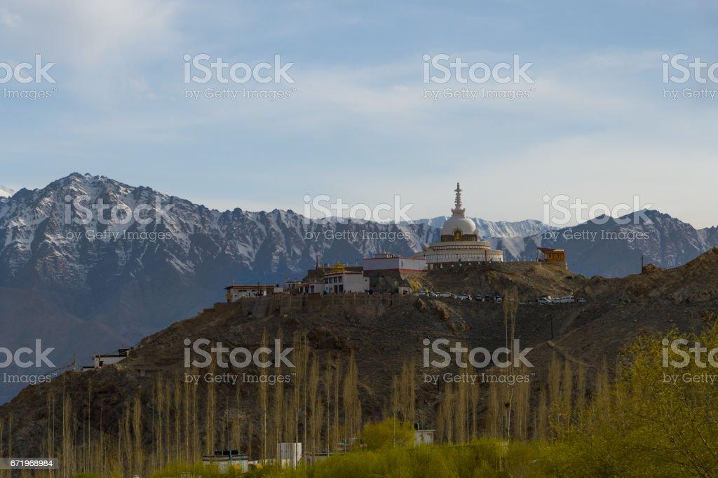 Panorama view of Tibetan temple, Ladakh, India stock photo