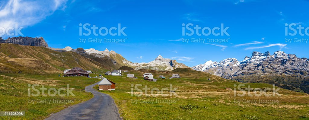 Panorama view of Titlis and Wendestock in alpen village stock photo