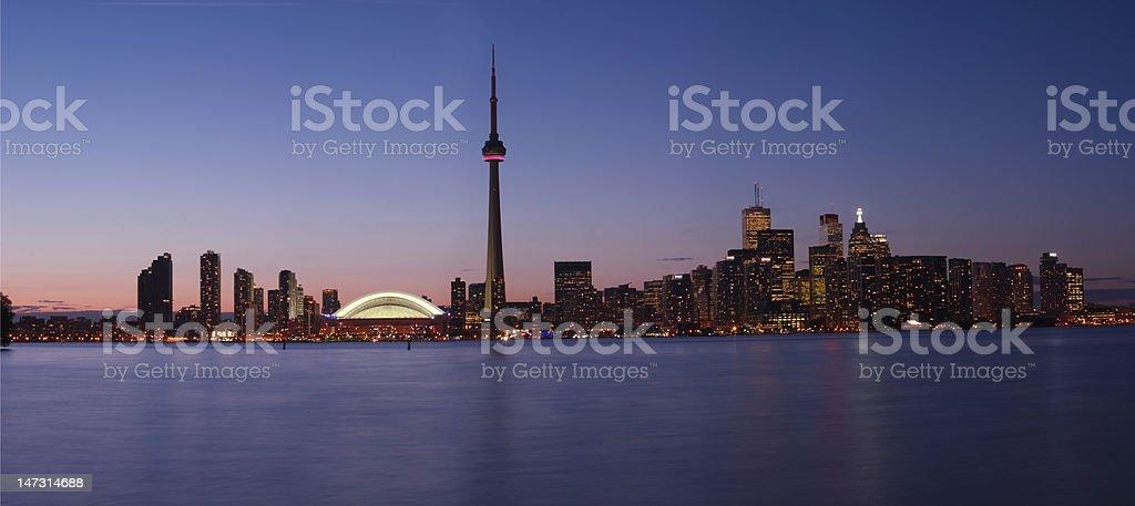 Panorama view of Toronto waterfront at dusk royalty-free stock photo
