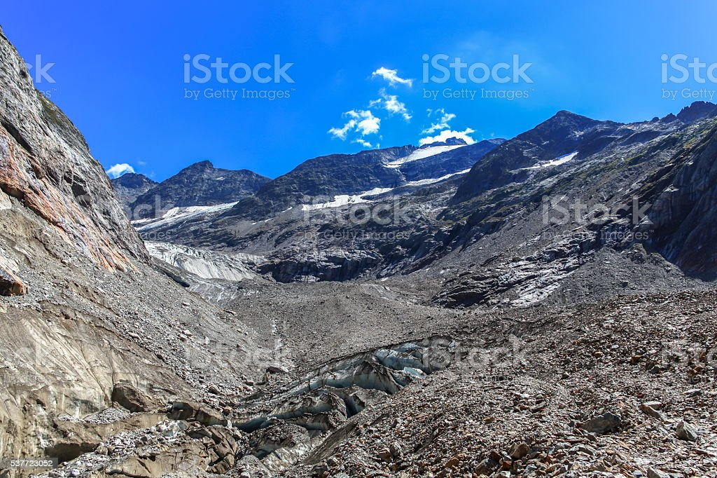 Panorama view of Tre-la-Tete glacier in French Alps stock photo