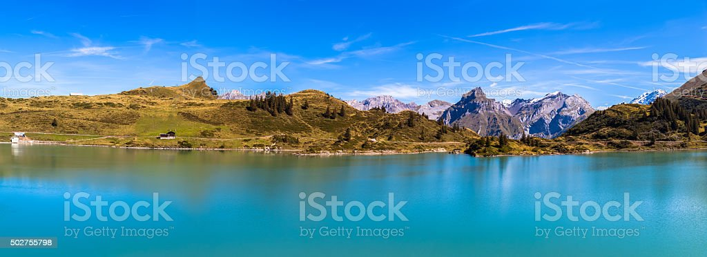Panorama view of Truebsee Hahnen and Wissberg stock photo